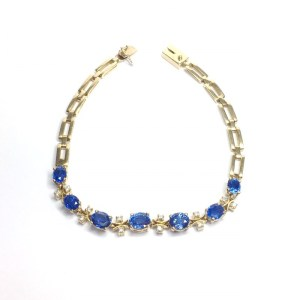 Image of second hand sapphire & diamond bracelet in 18ct yellow gold