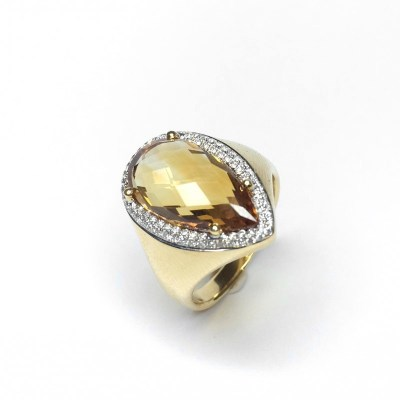 Second Hand Citrine & Diamond Ring in 18ct Yellow Gold