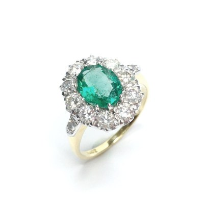 Second Hand Fine Colombian Emerald & Diamond Ring in 18ct Yellow Gold