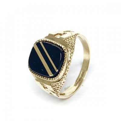 Second Hand 9ct Yellow Gold & Onyx Signet Ring