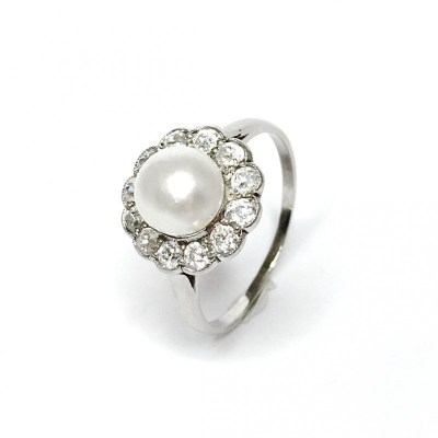 Second Hand Victorian Pearl & Diamond Ring in 18ct White Gold