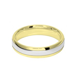 Image of 5mm 9ct two colour gold court shape wedding ring band