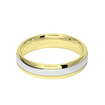5mm 9ct Two Colour Gold Court Shape Wedding Ring Band