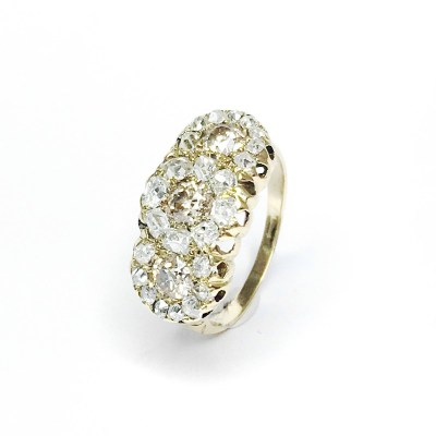 Second Hand 18ct Yellow Gold Victorian Diamonds Ring, 1.50ct