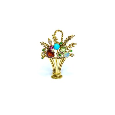 Second Hand 18ct Yellow Gold Multi-Gem Brooch