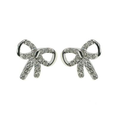 Silver Cz Bow Earrings