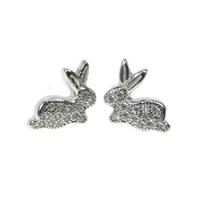 Silver Cz Bunny Earrings