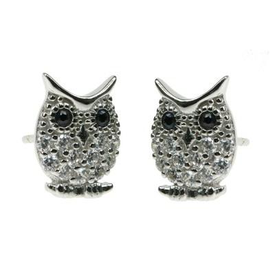 Silver Cute Owl Earrings