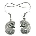 Silver Curled Hook Hedgehog Earrings