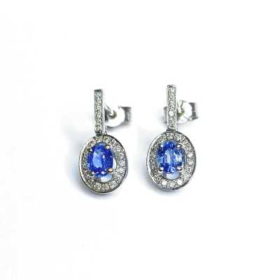 Second Hand 18ct White Gold Sapphire & Diamond Earrings