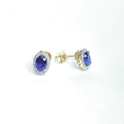 Second Hand 14ct Yellow Gold Sapphire & Diamond Earrings