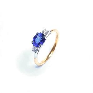 18ct Rose Gold Sapphire & Diamond Ring