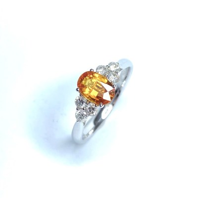 Second Hand 18ct White Gold Orange Sapphire & Diamond Ring