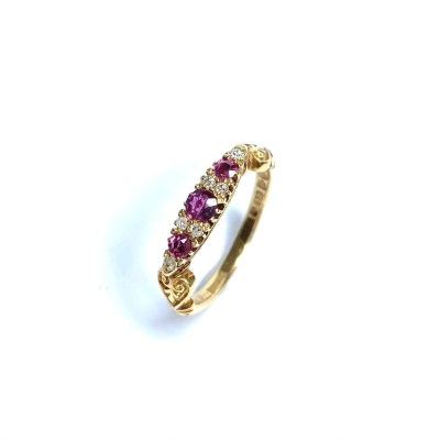 Second Hand 18ct Yellow Gold Ruby & Diamond Ring