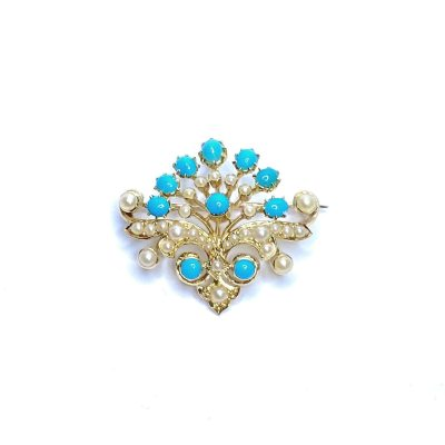 Second Hand 18ct Yellow Gold Pearl & Turquoise Brooch