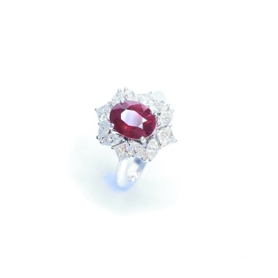 Second Hand 18ct White Gold Burmese Ruby & Diamond Cluster Ring