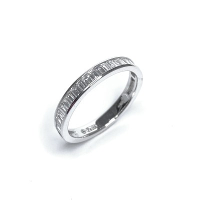 18ct White Gold Diamond Baguette Half Eternity Ring