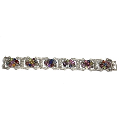 Second Hand Platinum Multi-Gem Bracelet