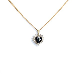 Second Hand 9ct Yellow Gold Sapphire & Diamond Pendant
