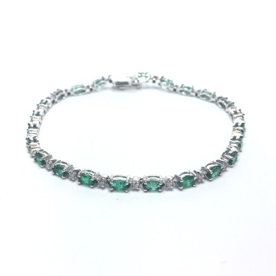 Second Hand 14ct White Gold Emerald & Diamond Bracelet