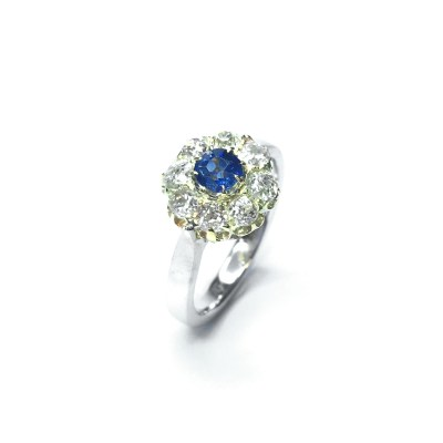 Second Hand 18ct Yellow & White Gold Sapphire & Diamond Cluster Ring