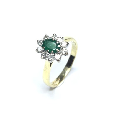 Second Hand 18ct Yellow Gold Emerald & Diamond Cluster Ring