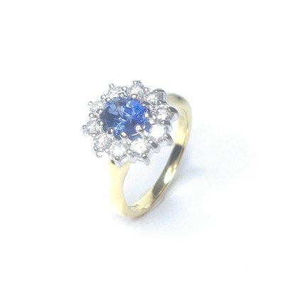 Second Hand 18ct Yellow Gold Sapphire & Diamond Cluster Ring