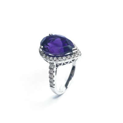 Second Hand 18ct White Gold Amethyst & Diamond Pear Shape Ring