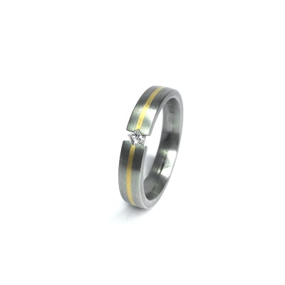 Second Hand 18ct White & Yellow Gold Wedding Ring