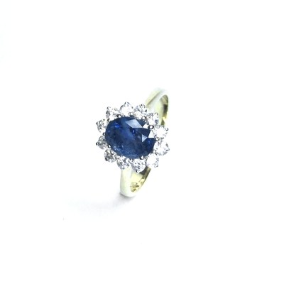 Second Hand 13ct Yellow Gold Blue Cubic Zirconia Ring