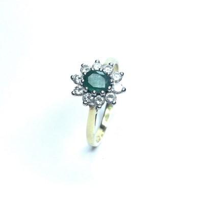 Second Hand 18ct Yellow Gold Emerald & Diamond Ring