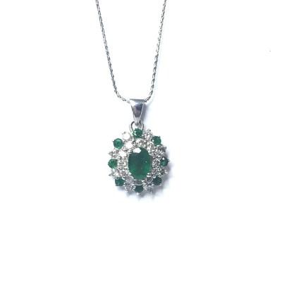 Second Hand 9ct White Gold Emerald & Diamond Pendant