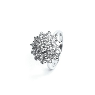 Second Hand 18ct White Gold Diamond Cluster Ring