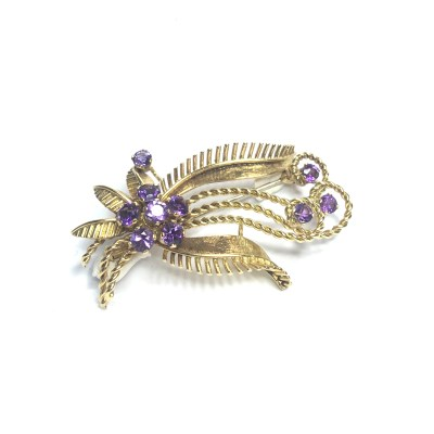 Second Hand 18ct Yellow Gold Amethyst Brooch