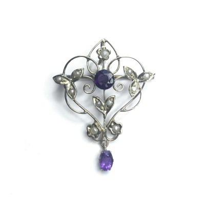 Second Hand 9ct Yellow Gold Amethyst & Pearl Brooch