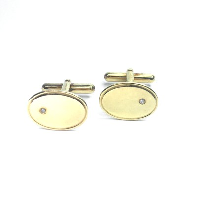 Second Hand 18ct Yellow Gold & Dimond Cufflinks