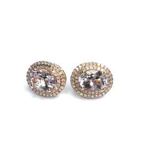 Second Hand 14ct Rose Gold Morganite & Diamond Earrings