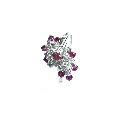 Second Hand 14ct White Gold Ruby & Diamond Ring