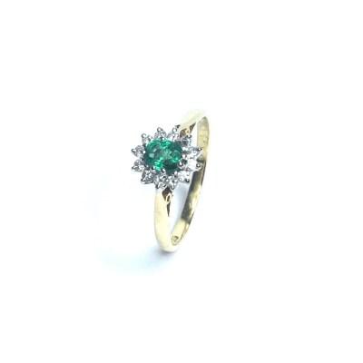 Second Hand 18ct Yellow Emerald & Diamond Ring