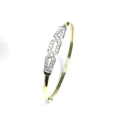 Second Hand 9ct Yellow Gold Cubic Zirconia Bangle