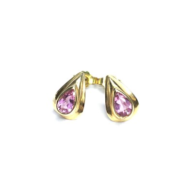 Second Hand 18ct Yellow Gold Pink Tourmaline Earrings
