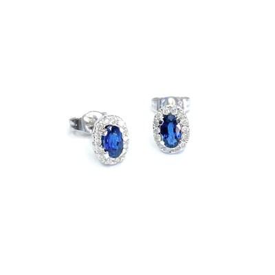 Second Hand 18ct White Gold Sapphire & Diamond Earrings