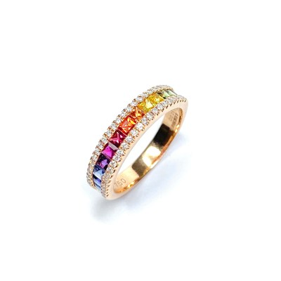 18ct Rose Gold Multi-Stone Sapphire & Diamond Ring