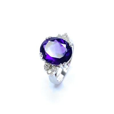 Second Hand 18ct White Gold Amethyst & Diamond Ring
