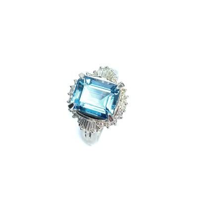 Second Hand Platinum Aquamarine & Diamond Ring