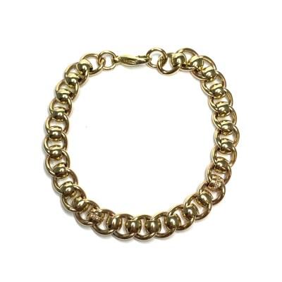 Handmade 9ct Yellow Gold Diamond Set Bracelet
