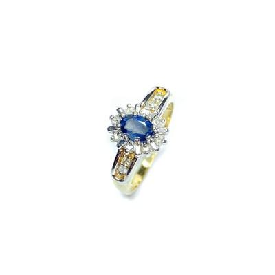 Second Hand 9ct Yellow Gold Sapphire & Diamond Ring