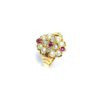 Second Hand 15ct Yellow Gold Ruby, Pearl & Diamond Ring