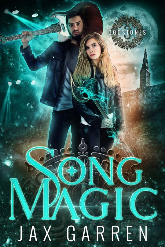 Book cover of Song Magic. Man holds a guitar, woman holds an ax, magic surrounds them.