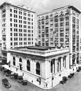 "Known locally as the ""Laura Street Trio,"" the Florida Life Building (left), the Marble Bank (foreground), and the Bisbee Building (right) are some of Jacksonville's most significant--and endangered--buildings."